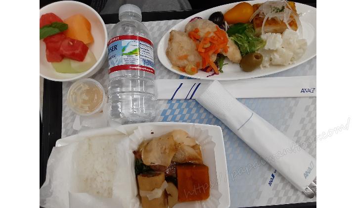 【ハワイ家族旅行2020】ANAフライングホヌ プレエコ搭乗記④機内食(ハワイ⇒成田)