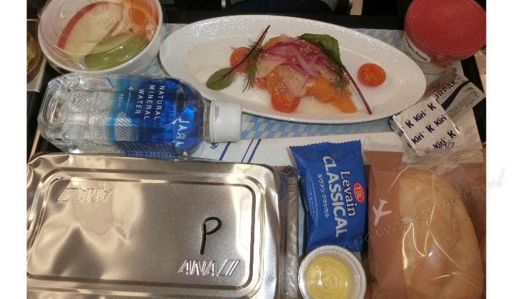 【ハワイ家族旅行2020】ANAフライングホヌ プレエコ搭乗記③機内食(成田⇒ハワイ)
